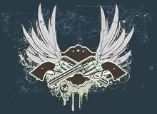 Sheriff  insignia. Vector illustration of Two cowboy revolver guns with shield on the grunge Background Royalty Free Stock Photos