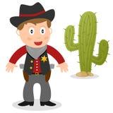 Sheriff met Cactus Royalty-vrije Stock Foto's