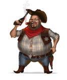 Sheriff met sigaar en twee revolvers.  Stock Foto's