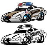 Sheriff Muscle Car Cartoon Vector Illustration. Hot aggressive looking sheriff muscle car hot rod cartoon illustrated in full color and black line art for easy vector illustration