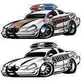 Sheriff-Muscle Car Cartoon-Vektor-Illustration lizenzfreie stockfotos