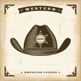 Sheriff occidental Hat del vintage stock de ilustración