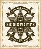 Sheriff occidental Label Graphics del vintage stock de ilustración