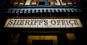 Sheriff Office. Old Sheriff Office cartel, made of wood, useful for concepts Stock Photos