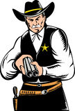 Sheriff pointing a shotgun at you Royalty Free Stock Images