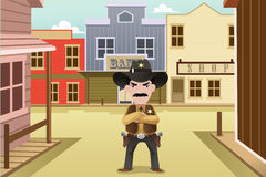 Sheriff que se coloca en una ciudad occidental vieja ilustración del vector