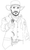 Sheriff with a revolver aimed at the viewer Stock Images