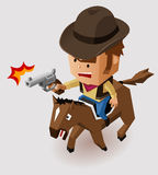 Sheriff with Revolver riding Horse Stock Images