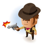 Sheriff with Revolver. Vector Illustration Stock Photo