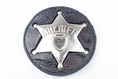 Sheriff's badge isolated on white Stock Photo