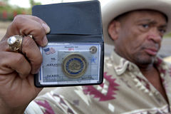Sheriff's ID, Mississippi. A man showing his Sheriff's badge, Mississippi Stock Photos