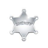 Sheriff's metallic badge as star Royalty Free Stock Images