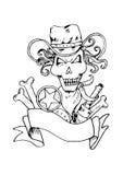 Sheriff`s skull logo design. vector illustration
