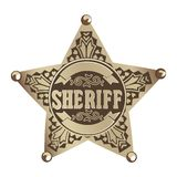 Sheriff star. Brown   Sheriff star on white background Royalty Free Stock Photos