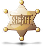 Sheriff Star. Sheriff's six pointed star on a white background with a shadow at the bottom Royalty Free Stock Photos