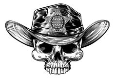 Sheriff Star Badge Skull Cowboy Hat Stock Image