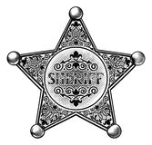 Sheriff Star Badge Woodcut Style vector illustration