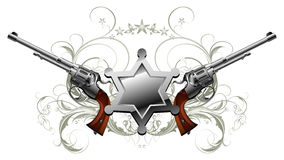 Sheriff star with guns. Decorated floral elements, this illustration may be useful as designer work Stock Image