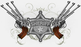 Sheriff star with guns Royalty Free Stock Images
