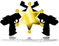 Stylized Sheriff star with guns isolated Royalty Free Stock Image