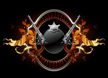 Sheriff star with guns ornate frame Royalty Free Stock Images