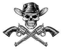 Sheriff Star Hat Skull en Pistolen royalty-vrije illustratie