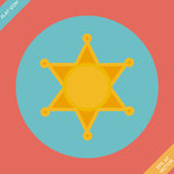 Sheriff star icon - vector illustration. Flat design element Royalty Free Stock Image