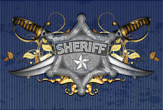 Sheriff star with sabers Royalty Free Stock Photo