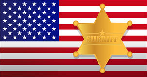 Sheriff star and us flag illustration Royalty Free Stock Photography