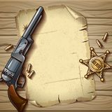 Sheriff Stars Composition. With police badge sheet of old paper gun on wooden background vector illustration Royalty Free Stock Images