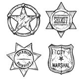 Sheriff stars. Stock Images