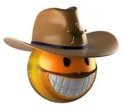 Sheriff style emoji smile sphere. stock illustration