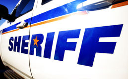 Sheriff Vehicle. Close-up of side of a sheriffs vehicle stock photos