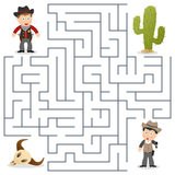 Sheriff & Wanted Maze for Kids stock photos