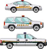 Sheriffauto auf einem weißen Hintergrund in einer flachen Art Stockbilder