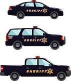 Sheriffauto auf einem weißen Hintergrund in einer flachen Art Lizenzfreies Stockfoto