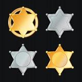 SheriffBadge Star Vector uppsättning Olika typer klassiskt symbol Kommunal stadsrättsskipningavdelning Isolerat på svarta Backg Royaltyfri Foto