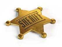 Sheriffkenteken bij het witte 3d teruggeven wordt als achtergrond geïsoleerd die Royalty-vrije Stock Foto