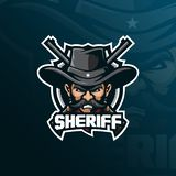 Sheriffmaskottchenlogo-Entwurfsvektor mit moderner Illustrationskonzeptart für Ausweis-, Emblem- und Shirt-Drucken polizeichef vektor abbildung