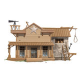 Sheriffs house, prison and scaffold Stock Photo