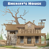 Sheriffs house with prison and scaffold, wild West Stock Photos