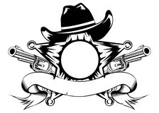 Sheriffs star and revolvers. Vector illustration sheriffs star hat and revolvers Stock Photos