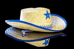 Sheriffs staron a childs cowboy hat. Halloween costume cowboy hat with sheriffs star royalty free stock photos
