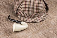 Sherlock Hat och tobakrör arkivbild