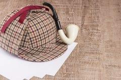 Sherlock Hat och tobakrör royaltyfri fotografi