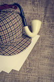 Sherlock Hat and Tobacco pipe Royalty Free Stock Photography