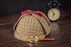 Sherlock Hat und Lupe Lizenzfreies Stockfoto