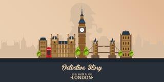 Sherlock Holmes Απεικόνιση ιδιωτικών αστυνομικών Απεικόνιση με Sherlock Holmes Οδός Baker 221B Λονδίνο απαγόρευση μεγάλη Στοκ Εικόνες