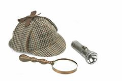 Sherlock Holmes Cap, Vintage Magnifying Glass And Retro Flashlig Royalty Free Stock Images