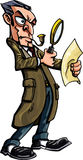 Sherlock Holmes cartoon with magnifying glass Stock Photography